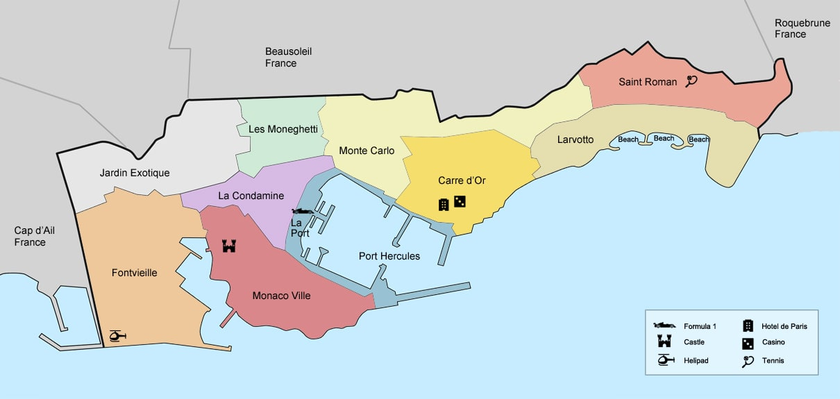 The Districts of Principality of Monaco Jewel Estates Monaco